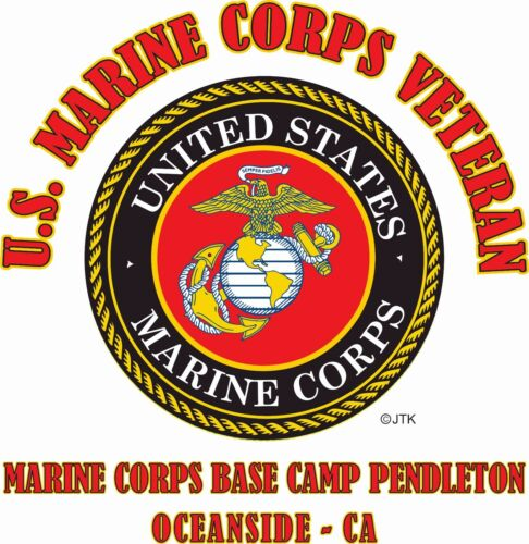 U.S.MARINE CORPS VETERAN EMBLEM NAME DROP U.S MARINE CORPS BASE SHIRT