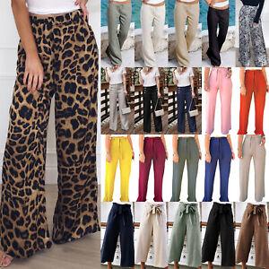 Women-Floral-Wide-Leg-Pant-Summer-Elastic-Waist-Baggy-Palazzo-Trousers-Plus-Size
