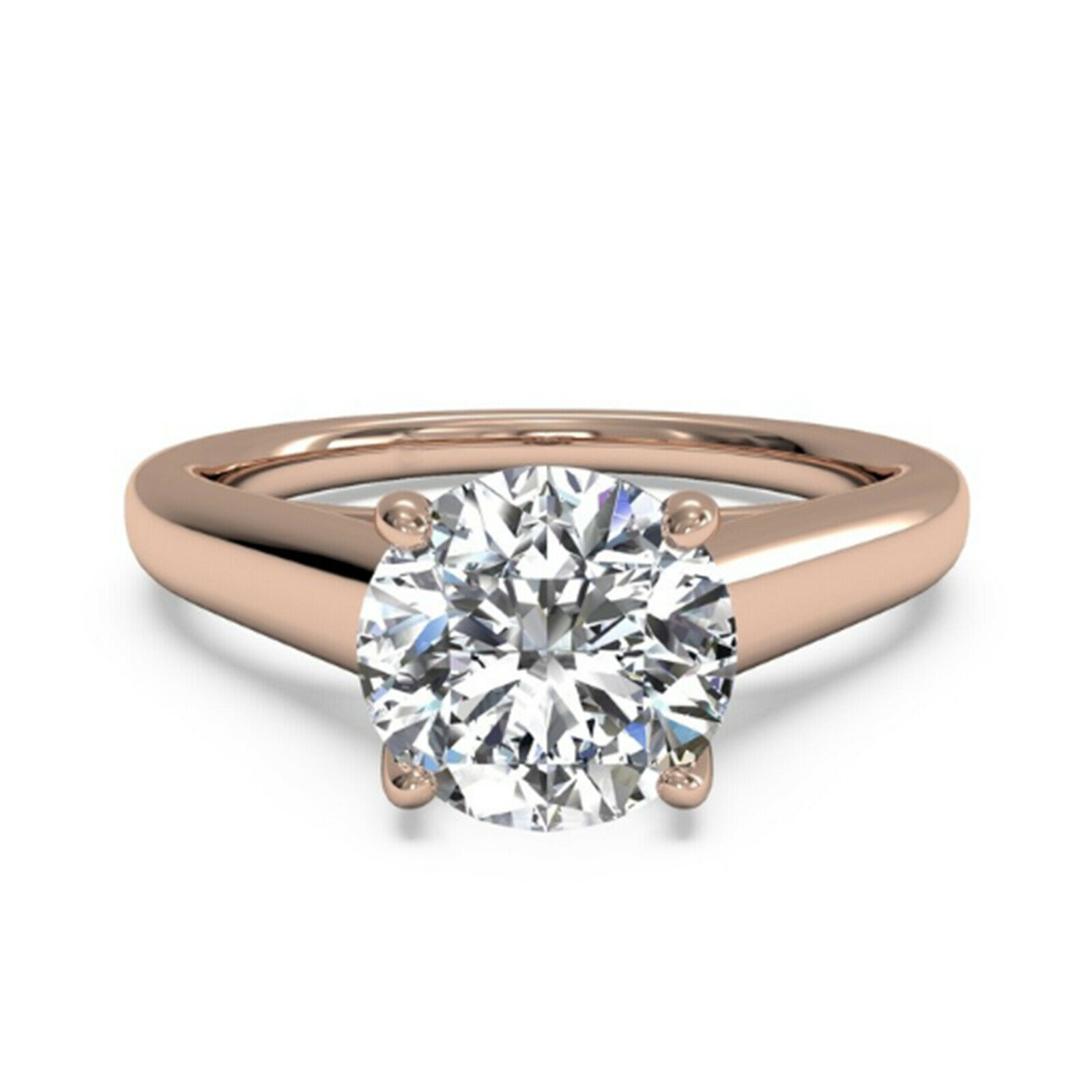 1 Ct Bridal Moissanite Engagement Ring Round Cut Real 14K pink gold Size 6 9 UY