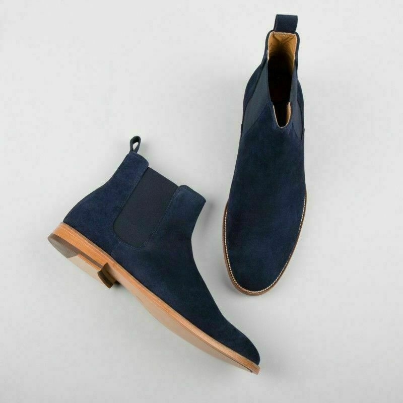Mens Handmade Stiefel Genuine Navy Blau Suede Chelsea Ankle Casual Casual Casual Jumper Chukka 84e89e