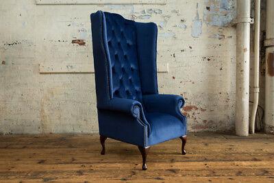 Fantastic Modern Handmade Soft Navy Blue Velvet Chesterfield Wing Short Links Chair Design For Home Short Linksinfo