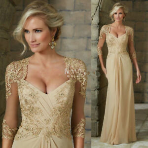 Details About Elegant Chiffon Mother Of The Bride Dresses Lace Formal Evening Gowns Plus Size