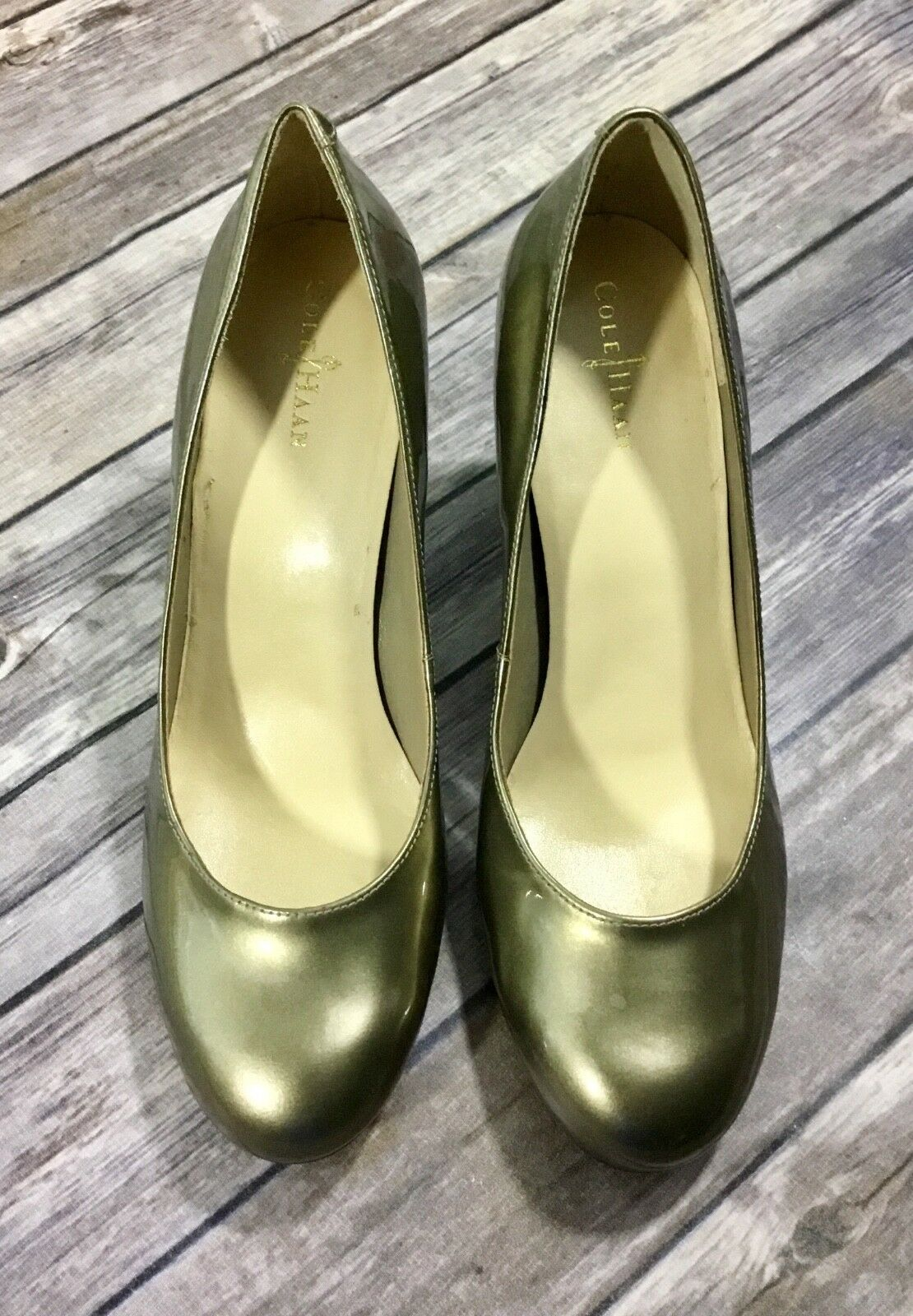 Cole Haan Womens Air Lainey High Heels 8B Pewter Patent Leather Pumps D38860 GUC