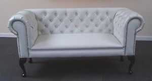 Image Is Loading Truro White Faux Leather Fabric Small Sofa Slipper