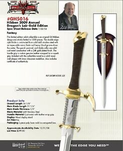NEW-Gil-Hibben-DRAGON-LAIR-GOLD-Sword-GH5016-LE-1500-pcs-United-Cutlery-Kit-Rae