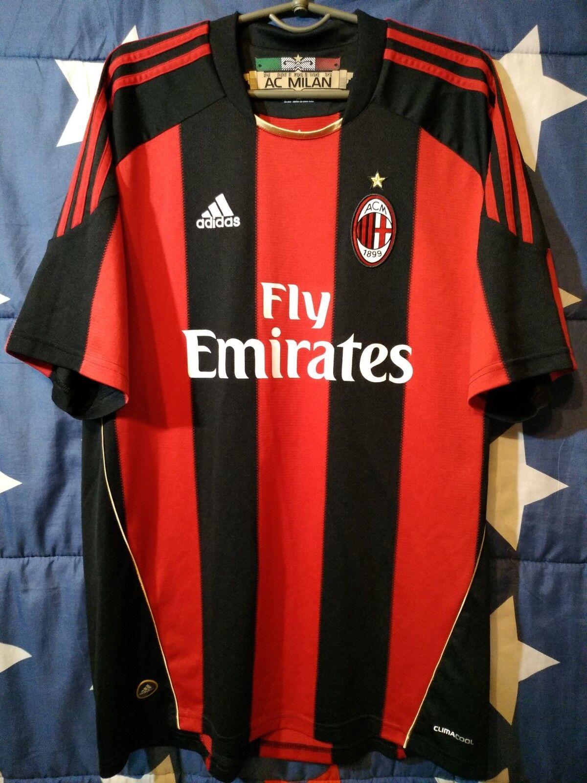 Talla XL AC MILAN ITALY 2010-2011 HOME FOOTBALL SHIRT JERSEY MAGLIA ADIDAS