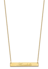 """Real 14K Yellow Gold Personalized Engrave Name ID Bar Pendant Necklace 18"""" Chain"""