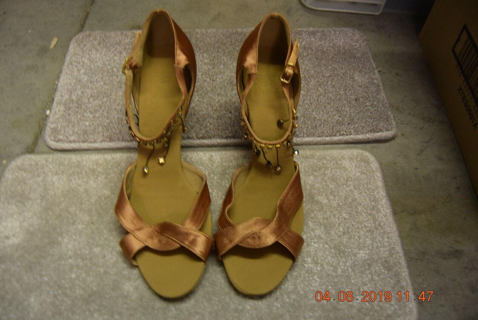 Bronze satin Dancelife ballroom / latin dance shoes - size UK 8.5 (P107)