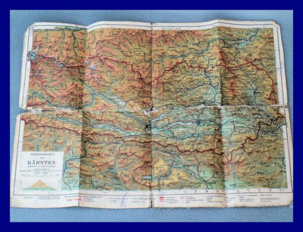 Clever KÄrnten Landkarte /// Textilgewebe/papier /// Ca. Vor 1. Wk. !!! Sehr Alt