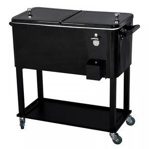 New Black 80 Quart Cooler Beer Cart Outdoor Entertaining