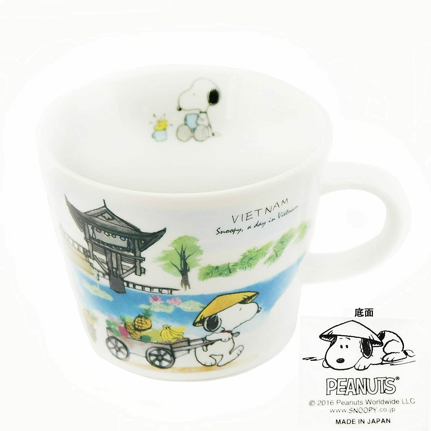 Peanuts Snoopy Porcelain Mug Cup World Tour Series 340 ml Set of 4 Country Japan