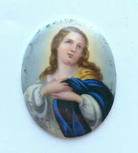 ANTIQUE-19th-C-FRENCH-HAND-PAINTED-OVAL-PORCELAIN-MINIATURE-WITHOUT-FRAME