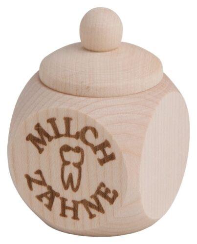 """/""""/""""Milchzähne/""""/"""" Holzdose brauner Tampondruck mit Schraubverschluss /""""/"""" 4x4 cm"""