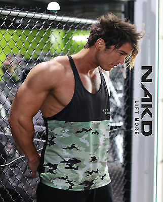 NAKD CAMO MENS GYM SINGLET, RACERBACK T Y BACK TANK TOP BODYBUILDING WORKOUT
