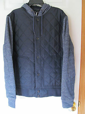 NWT Men's i Jean by Buffalo 100% nylon Dark Blue Button up hooded jacket Size S