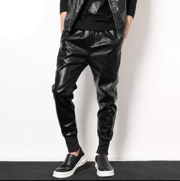 Men's Harem Skinny Motorcycle PU Leather Slim Casual Punk Trousers Pants Fashion