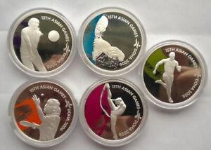 Qatar 2006 Asian Games 10 Riyals 1oz Set of 5 Silver Coins,Proof