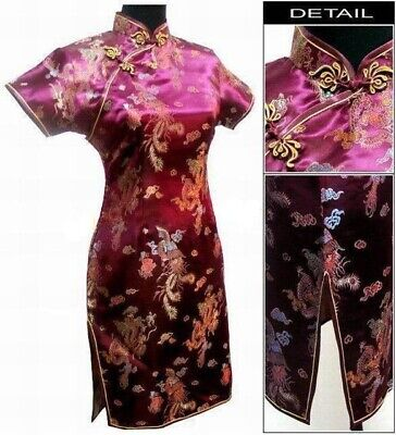 Lady Traditional Chinese style Mini Cheongsam Dresses Women Dragon Phoenix Qipao