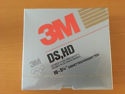 "3m 5,25"" Neue Disketten 10 Stück In Box Double Side, High Density Soft Sector"