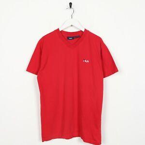 Vintage-FILA-Small-Logo-T-Shirt-Tee-Red-Medium-M