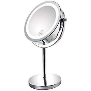 Lighted Makeup Mirror.Gospire 10x Magnified Lighted Makeup Mirror Double Sided Round