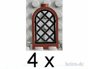 LEGO-4-Burgfenster-1x2x2-2-3-braun-mit-Gitter-schwarz-30044-30046-NEUWARE