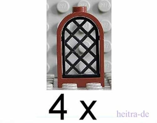 LEGO 4 Burgfenster 1x2x2 2/3 braun mit Gitter schwarz 30044 30046 NEUWARE