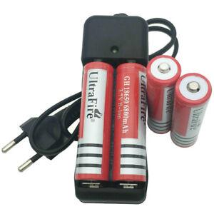 4X 18650 6800mAh Batterie Low Drain 3.7V Li-ion Rechargeable + EU Chargeur 4.2V