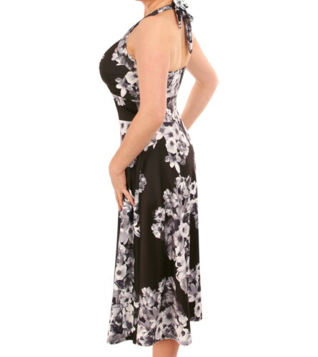 fiori Nuovo e floreale con vestito bianco nero collo a fZHpq