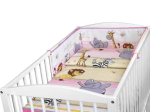 BABY 3PC BEDDING SET PILLOW DUVET BUMPER FIT COTBED 140x70cm Safari Pink