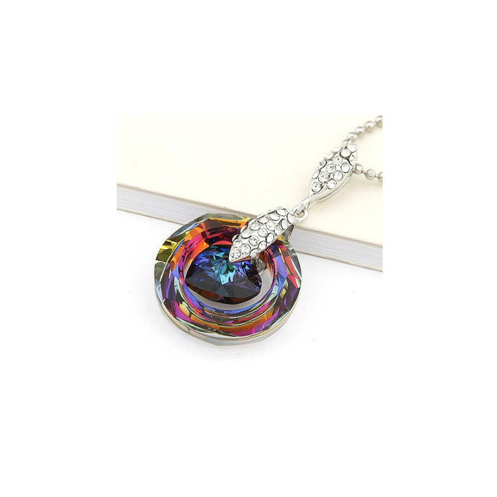 Pendant Circle and heart decorated crystal Swarovski Rainbow and bluee