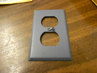 Metal Duplex Outlet Cover Gray