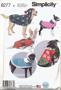 SIMPLICITY-SEWING-PATTERN-8277-S-M-L-DOG-CLOTHES-FLEECE-COATS-amp-HATS-3-SIZES