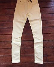 Topshop Moto Skinny Jeans Leigh Neon Yellow Sz 6 W25 To Fit L32 ~715 Defected
