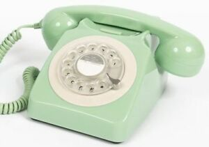 GPO-746-Mint-Green-Retro-Vintage-Style-Desk-Phone-with-Working-Rotary-Dial