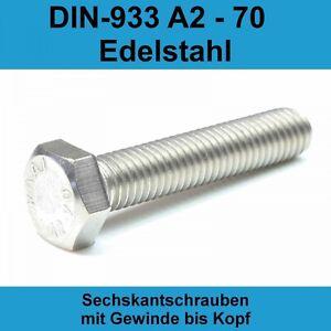 2* Edelstahl V2A Schrauben DIN 933 Sechskant M8 x 60 mm