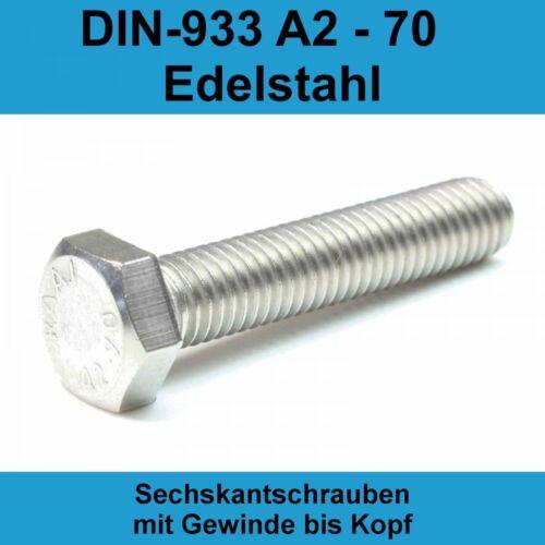 M8 DIN 933 Sechskant Schrauben Edelstahl A2 V2A Maschinen Gewindeschrauben M8x