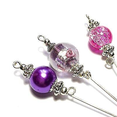 Schutz Neu Silber Pink Glas Perlen Antik Vintage Stil Hut Pin 12.7cm Stark