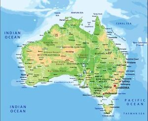 Map To Australia.Australian Map City And Boundaries Decor Wall Cloth High Quality