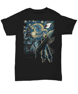 FF7 Final Fantasy and Starry night remake mens t-shirt Unisex Tee