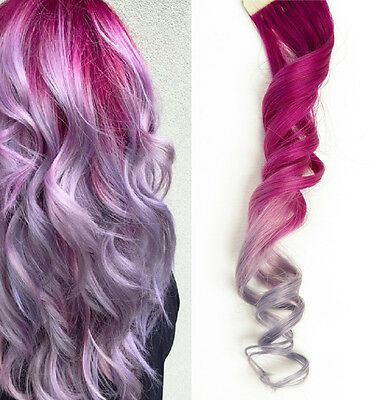 """Tape in Ombre Human Hair Extensions Skin Pink Metallic light Purple Lavender 12"""""""