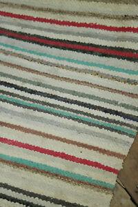 RAG-RUG-vintage-European-runner-colorful-striped-carpet-1930-039-s-110-x-30-inches