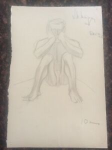 Signed-1936-Lillian-Mingay-Pencil-Drawing-Semi-Naked-Male-Figure-33