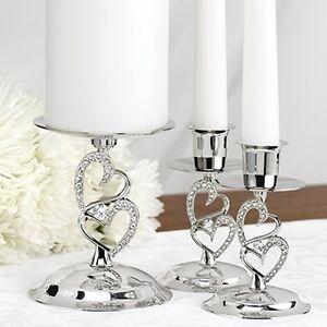 Image Is Loading Silver Double Heart Rhinestone Love Wedding Ceremony Unity