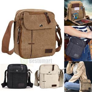 Men s Vintage Canvas Leather Satchel School Military Shoulder Bag ... be1fb6c621