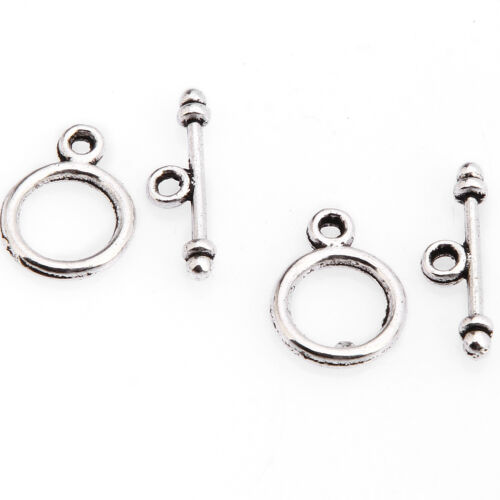 Wholesale 30Sets Round Ring Bar Toggle Clasp 4Color Jewelry Bead Craft Findings
