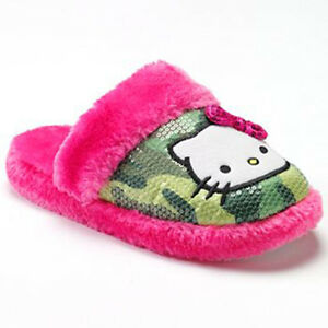 hello pink plush slippers house shoes sequin camo