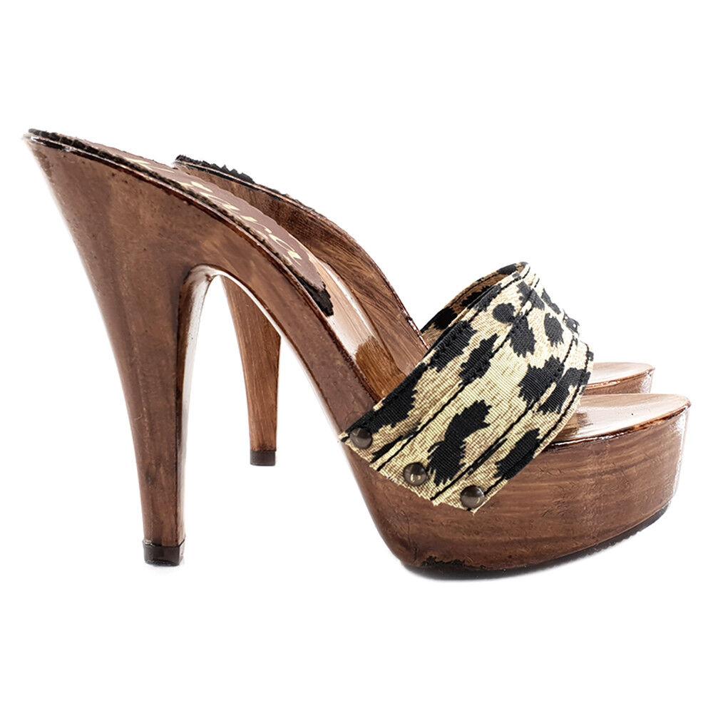 Leopard Print Clogs-Made in  35 to 42-Heel 13-k9101 Leopard