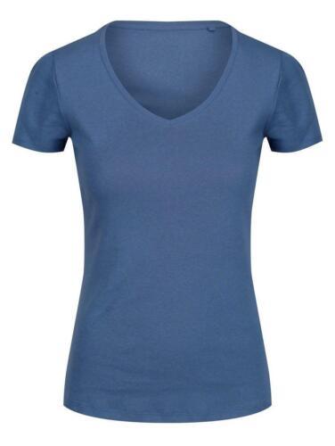 Da Donna EX M/&S Puro Cotone Manica Corta Scollo A V T-shirt 5 colori Taglia 10-2