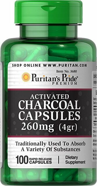 Puritan's Pride Charcoal (Activated) 260 mg x 100 capsules